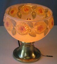 ANTIQUE ELECTRIC BRASS CEILING FIXTURE w/FROSTED REVERSE PAINTED PUFFY SHADE