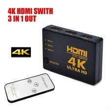 4K Ultra HD 3Way HDMI Switch Splitter HDTV Auto 3 Port IN 1 OUT Remote Control