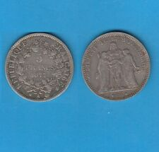 Troisième République 5 Francs Hercule  argent 1877 Paris