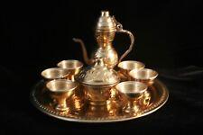 Vintage Miniature Engraved Brass Turkish type Coffee / Tea Set from Algeria
