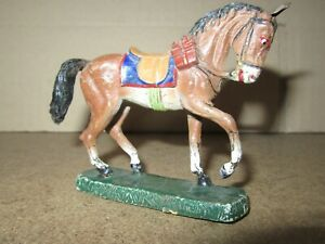 736Q 1930'S O&M Hausser Elastolin Composition Germany Horse at the Trot H 8 CM