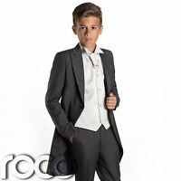 Boys Grey & Ivory Tail Suit , Wedding Suits, Page Boy Suits, Slim Fit Suits