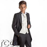 Boys Grey & Ivory Tail Suit , Wedding Suits, Page Boy Suits, Slim Fit Suits