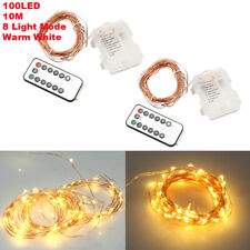 2X 10M 100LED Copper Wire Xmas String Fairy Light Lamp Battery Operated 8 Mode