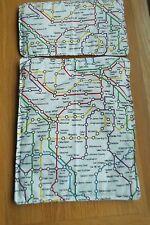 """DOLLS PRAM COT BEDDING SET QUILT SET 12"""" X10"""" LONDON UNDERGROUND MAP"""