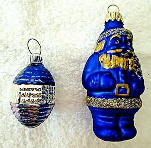 2 VINTAGE GERMAN CHRISTMAS ORNAMENTS~BELL & SANTA COBALT BLUE & GOLD COLOR VGC