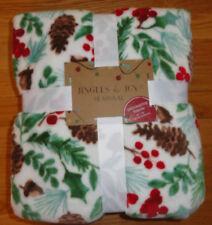 Holly Leaves Berries Christmas Throw Blanket Plush Fleece Jingles & Joy