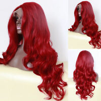 Women's New Long Curly Wavy Red Lace Front Wig Heat Resistant Synthetic Hair
