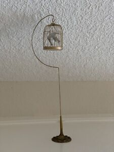Vintage Birdcage Bird House Antique? metal on stand w/lovebirds
