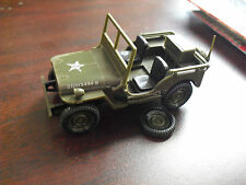 Vintage Hard Plastic Kit Built Small US Army Jeep LOOK