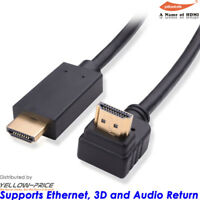 Cable HDMI 15ft 25ft HD 4K 3D High Speed Right Angle 270 Degree For Wall-Mounted