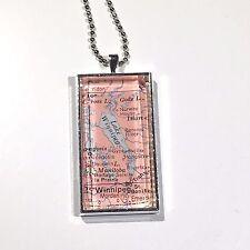 "LAKE WINNIPEG MANITOBA CANADA Map Pendant Silver necklace vntg ATLAS 1x2"""