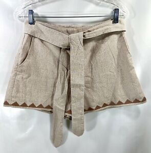 Moon River Size Small Tie Waist Shorts High Waisted rayon lining Color Beige