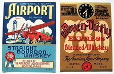 TWO Old Whiskey Labels, Airport & Seven Thirty Early Airplane & Railroad Train