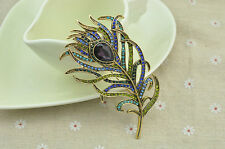 2017 Ladies Gold Crystal Brooches Vintage Feather Bronze Brooch Pin Antique