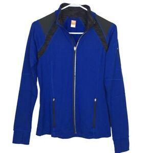 Lucy Activewear Athletic Jacket Women's Size S Blue Full Zip Collar Thumb Holes
