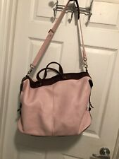 "J JILL PINK LEATHER TRAVEL BAG 18""x 9"" X 12""  handles & Shoulder strap"