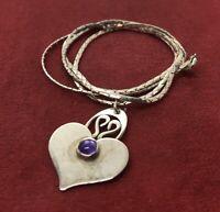 "Vintage Sterling Silver Necklace 925 18"" Heart Love Pendant Amethyst"
