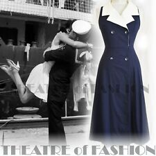 Dress Navy 8 10 Blue 20s Vintage Gatsby Wedding 40s 30s 50s Victorian Sailor