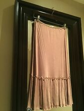 Vivienne Tam Nude Pull On Ruffled Mid Length Maxi Skirt Size 3 New w/o Tag