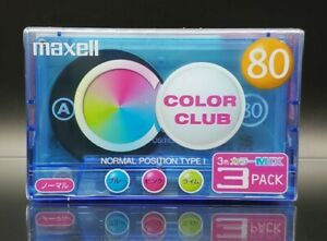 3-Pack Maxell Color Club 80 Blank Audio Cassette Tapes Type I Normal Position