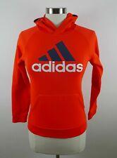 Adidas Boys Polyester Clima Warm LS Neon Orange Hoodie Sweatshirt Youth Medium