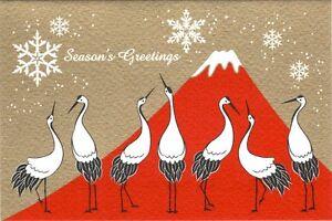 Greeting Card - Red Mt Fuji Crane - Season's Greetings - Made In Japan F/S
