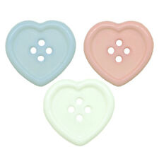HEART SHAPED 4 HOLE PLASTIC BUTTONS, 23mm, Baby Blue, Pink or White