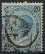 Italy 1865 SG#19, 20c On 15c Dull Blue, Type III Bropken Perf Pin #D91767