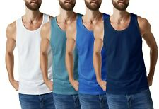 3 X Mens Vests 100% Cotton Tank Top Summer Training Gym Pack INTERLOCK  S - 5XL