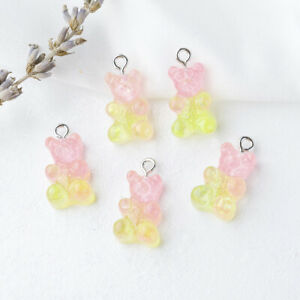 10pcs Kawaii Resin Cartoon Bear Pendant Charm DIY Necklace Jewelry Handcrafts