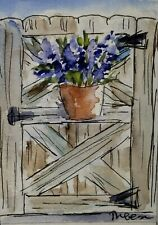 Original ACEO or ATC watercolor - Gate - miniature painting