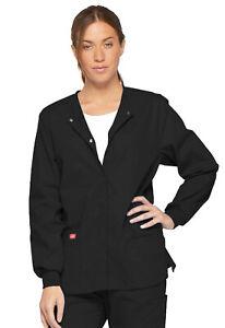 Dickies Scrubs Snap Front Warm Up Jacket 86306 BLWZ Black Free Shipping