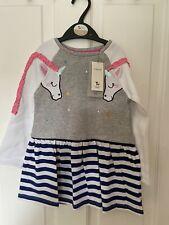 New Age 2-3 Years Girls TU Unicorn Frill Sleeve Detail Dress Striped & Grey BNWT