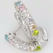 New Sterling Silver Huggie Style Pave Set CZ Multi Color 3 Latch Back Earrings