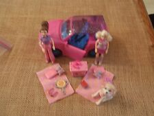 Polly Pocket Pink Blue Jeep Car Camping Dog Accessories Lot Set X61
