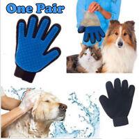 Pet Grooming Glove Dog Cat Gentle Deshedding Brush Massage Hair Fur Removal Tool