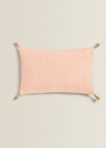 ❣️Zara Home Linen Cushion Cover with Contrast Tassels Salmon Pink 30x50cm BNWT❣️