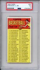1969 Topps Basketball Checklist #99 RARE Basketball Card SN 2953 EX PSA 5