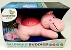 Slumber Buddies SOOTHING SOUNDS & LIGHT SHOW Pink Hippo -Summer Infant - New!