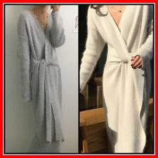 LONG Knitted Cashmere Sweater Dress Sexy Belt Dresses Womens Work Fashion Woman