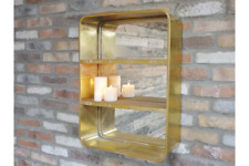 Golden Effect Mirrored Shelving Unit Wall Mountable Distressed Storage Organiser