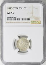 Straits Settlements 1895 10 Cents NGC AU-55 Silver Coin