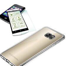 Métal étui en silicone Argent + 0,3 H9 verre blindé pour Samsung