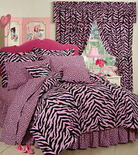 Pink Zebra Leopard - Jungle SAFARI - 8 Pc Queen Bedding Comforter Set