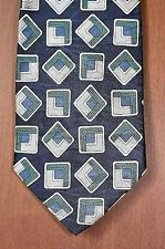 NEW Mens Silk Tie Necktie Made In Italy Navy Blue Silver by Essex Row #325