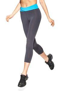 Hue Capri Leggings Sz S Grey Neon Blue Waistband Sport Athletic Appareal Legging