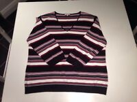 Country Casuals Women's Black Red Cream Striped Jumper Size Xl