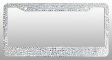 Crystal Clear License Plate Frame 7 rows Mix Sizes Rhinestones with Free Caps