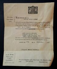 1958 Paper Ephemera. Notice to Give Evidence at Old Bailey, London. Legal/ SE10